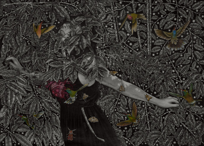 'And-Thru-the-pinhole-stars'_50x70-cm_graphite,-watercolor,-ink-on-wood_2012