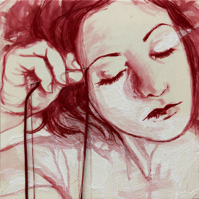 Ilaria-Margutti-_-I-miei-volti-(1)_-2011-_--Ricamo-su-tela-_-50x50cm