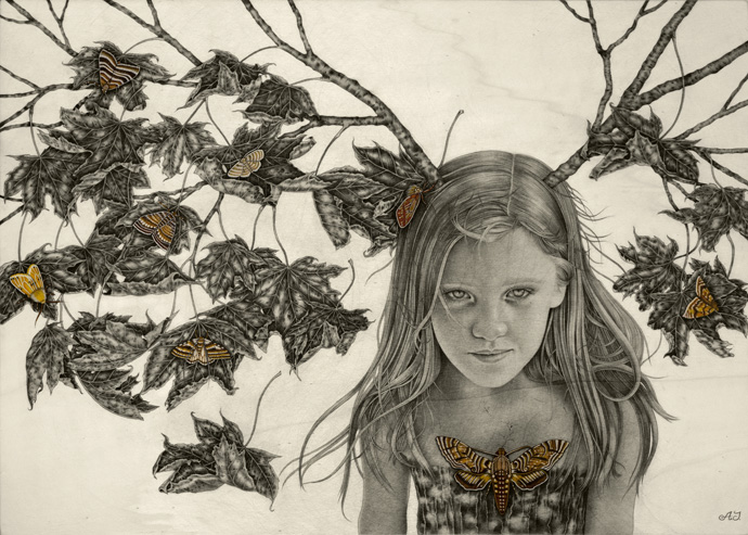 'Sophia'_50x70-cm_graphite,watercolor,ink-on-wood_2012.