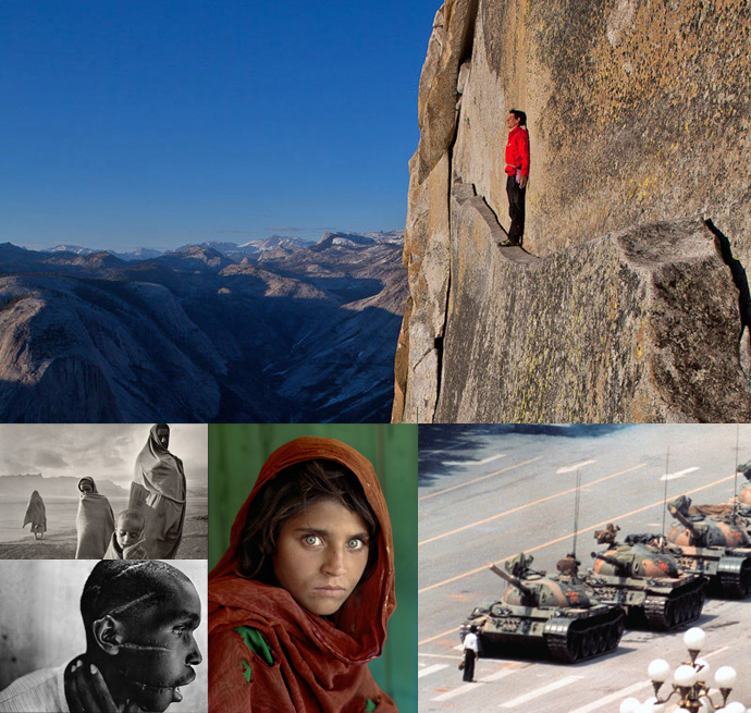 In alto Jimmy Chin. A sinistra, in alto, Sebastião Salgado e, in basso James Nachtwey. Al centro SteveMcCurry e, a destra, Jeff Widener.