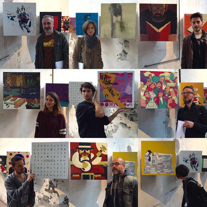 """Alcuni degli illustratori che hanno preso parte al progetto """"50x50x50"""" davanti alle rispettive opere."""