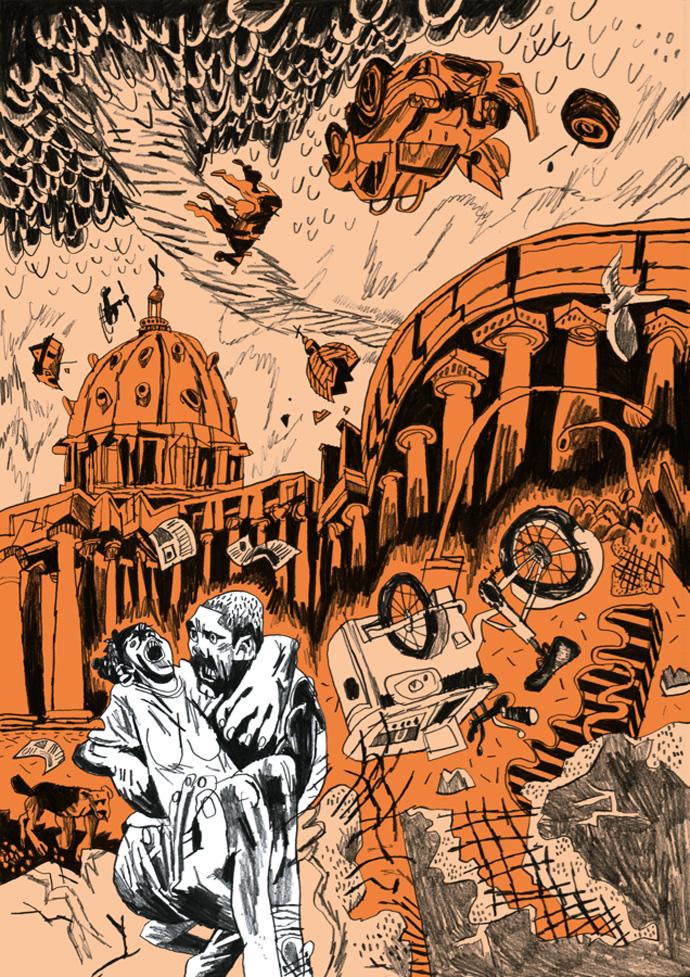 Una tavola tratta dal fumetto di Martoz: Remi Tot in STUNT