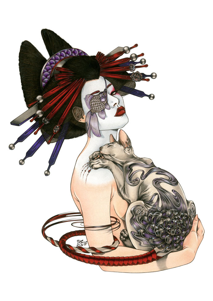 Geisha with Tattooed Cat